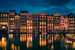 Reflections in the canal (tbnate) Tags: amsterdam netherlands thenetherlands holland canal water river reflection lights light bluehour bluesky clouds longexposure window windows building buildings nikon nikond750 d750 tamron tamron1530 ultrawideangle boat architecture evening dusk tbnate radekkorbal korbal city cityscape dark outdoor outside sky