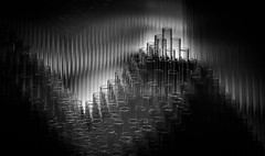 the sound of a thousand flutes (Reflectory (Chris Brown)) Tags: abstract abstraction nopeople horizontal landscape monochrome blackandwhite bw black white gray blackbackground lowkey geometry lines curve curves circle circles ellipse ellipses oval ovals layer layers pattern patterns diagonal diagonals grid matrix shadow shadows empty clear transparent plastic tubes round cylinder cylinders sound flute reflectory