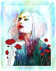 poppies (andrzejslupsk) Tags: woman portrait andrzej słupsk slupsk face art photo manipulation poppies flowers girl