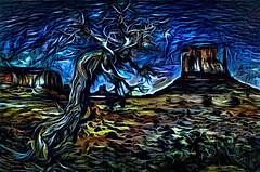 Juniper at Monument Valley - Blue Impression (D'ArcyG) Tags: monumentvalley mountain arizona desert impression abstract surreal blue juniper tree gnarl