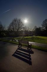 Long shadows (HonleyA) Tags: park greenheadpark bench benches ricohgr2 gr2 sun evening shadows