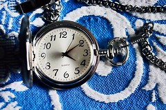 Texture of Time (Haytham M.) Tags: 40mm canont7i silver numbers hands chain watch pocket white blue texture time antique classic indoor indoors hours minutes seconds