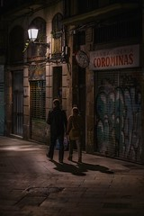 Night walk (karinavera) Tags: city night photography urban ilcea7m2 85mm architecture street calle walk españa barcelona spain step couple