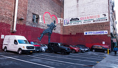 I ❤ NY (UrbanphotoZ) Tags: i❤ny graffiti man painting heart parkinglot brickwall allillegalparkedvehicleswillbetowedatownersexpense redpaint steamvent cleaners drycleaning tailoring laundry pickup deliver fromthesource psychic pure cleaningsystem fireescape midtownsouth manhattan westside newyorkcity newyork nyc ny pedestrian