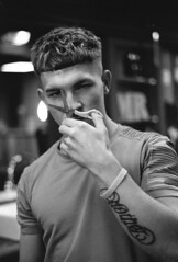 Analog black and white 6 (Nika Polovina) Tags: boy beauty handsome blackandwhitephotography analog analogphotography hairdresser barbershop man toys university unitedkingdom ipswich