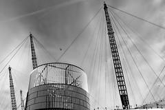 / \  O 2   / \ (christikren) Tags: building lines monochrome blackandwhite blackwhite christikren linescurves london arena entertainment sky construction airplane panasonic theo2 aircraft