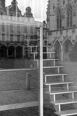 (Jean-Luc Léopoldi) Tags: bw noiretblanc ville arras reflection escalier stairs intérieurextérieur gothique place pavés façades fusion
