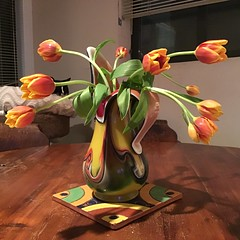 Tulips (Philosopher Queen) Tags: vase flowers tulips yellow orange bouquet stilllife