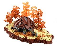 Cyclops Hut (Ayrlego) Tags: lego cyclops mitgardia roundhut autumn