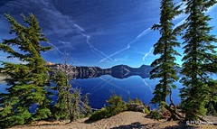 Reflections (pandt) Tags: craterlake nationalpark cascademountains reflections water trees fir volcano sky vapor trail rimdrive outdoor nature waterscape landscape flickr canon eos slr 7d blue green rocks