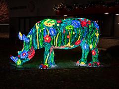 Christmas rhinoceros (Ronald_H) Tags: rhinoceros sculpture art light color helmond 2018 lichtgevende neushoorn