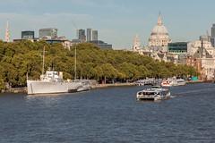Saint Paul's and Catamaran (string_bass_dave) Tags: unitedkingdom thames england london christopherwren saintpaulscathedral boat catamaran flickr church bushey gb