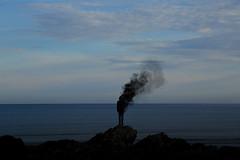 burning blue (gavin.hoskins) Tags: canon outside outdoors landscape smoke photoshopped silhouette sea blue beach isleofmull scotland canoneos5dmarkiii 5dmarkiii
