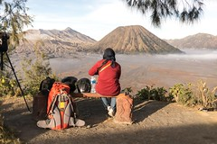 Morning view in Bromo. (aribowojuliarso) Tags: bromo horse horeseman mountain volcano indonesia sky national park people blue window