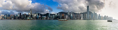 Panorama of Hong Kong City skyline before sunset. View from across Victoria Harbor Hongkong. (MongkolChuewong) Tags: aerial architecture asia asian background beautiful blue building buildings business china city cityscape day district downtown evening harbor harbour hong hongkong kong landmark landscape light metropolis modern mountain night office panorama panoramic peak peaks reflection scene scenic sea sky skyline skyscraper sunrise sunset tourism travel traveler urban victoria view