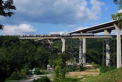 ALPHA-EMPTIES (skuat-2) Tags: wheelingandlakeerie wle mingocreek bridge viaduct emd sd45 sd403 avr alleghenyvalley carloadexpress alphajet coaltrain hoppers swp pittsburghandwestvirginia pwv connellsville pennsylvania