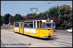 215-1992-05-24-2-Hauptbahnhof (steffenhege) Tags: thüringerwaldbahn gotha strasenbahn streetcar tram tramway gothawagen gelenktriebwagen g4 215 überlandbahn