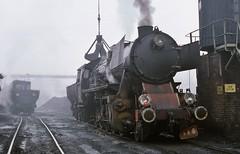 Nysa PKP  |  1987 (keithwilde152) Tags: ty2 br52 kriegslok nysa pkp poland 1987 depot town yard tracks coaling servicing coal crane steam locomotives outdoor winter fog