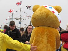 The Black Pearl Pirates meet with Pudsey for Children in Need (bikerchick2009) Tags: theblackpearlship pirates pudsey newbrighton wirral merseyside england children charity bear bbc echo globe