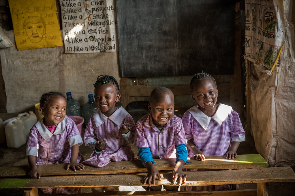 Children at a school that benefits from Sanivation's sanitation services