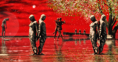Red Night (LionHeart1833) Tags: night red secondlife avatar statue notte rosso