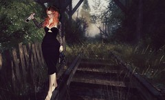 Somewhere Only We Know.. (Lil' Mersereau) Tags: red rail shoes portrait