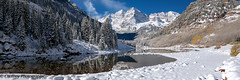 Winter Wonderland (OJeffrey Photography) Tags: maroonbells snow fallcolors fallcolor rockymountains coloradorockymountains mountains lake reflection co colorado ojeffrey ojeffreyphotography jeffowens nikon d800 pano panorama