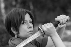 Black and white samurai (saromon1989) Tags: samurai portrait woman girl female beautiful blackwhite blackandwhite black white katana sword