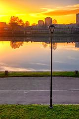 Sunrise (mirsavio) Tags: krakow poland street peole vistula river water sunrise luntern radish sky fujifilmxt20