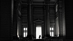 hall of justice [1] (frax[be]) Tags: streetphotography indoor atmosphere architecture fuji 16mm urban lightshadows silhouette monochrome noiretblanc lowkey blackandwhite bw