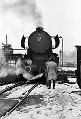 Wolsztyn PKP  |  1987 (keithwilde152) Tags: ty42 ty4259 wolsztyn wielkopolska pkp poland 1987 depot turntable railwaymen equipment steam locomotives blackandwhite monochrome outdoor winter snow
