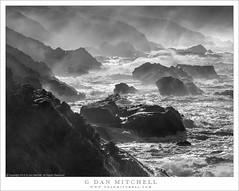 Storm Surf and Rocky Headlands (G Dan Mitchell) Tags: bigsur storm surf spray mist headlands waves pacific ocean coast sea stacks rocks cliffs landscape seascape nature blackandwhite monochrome california usa north america