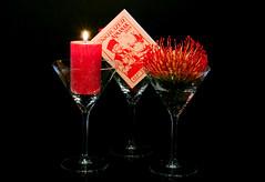 crazy still life (Cor Oosterbeek) Tags: crazystilllife smileonsaturday stillevenstilleven candle kaars book boek flower bloem glass glas glazen