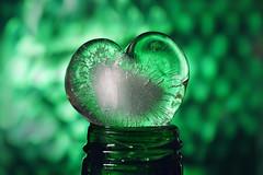 Think about green. For that, let your heart melt a bit. (Gudzwi) Tags: green macromondays mm hmm makro macro closeup nahaufnahme schatten shadow licht light lowkey glasflasche mehrwegflasche mehrweg wiederverwendbar refillable reusable recyclable recycelbar gefroren frozen schmelzen melt flasche bottle grün eiswürfelherz herz heart eiswürfel oberfläche surface material durchsichtig transparent sidelight seitenlicht grüneglasflasche greenglassbottle returnablebottle icecubeheart icecube glassbottle lichtundschatten lightandshadow nikonmicronikkorp12855mm