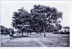 Tettenhall - Upper Green. And the Tettenhall Dick. (pepandtim) Tags: postcard old early nostalgia nostalgic 23tet65 upper green tettenhall wolverhampton trees water fountain path road car house parish church king edgar dick pear perry bees