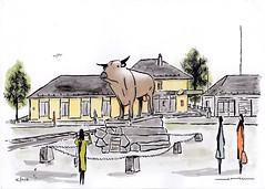Bonne année 2019 de Laguiole. (J-M.I) Tags: dessin illustration graphisme aubrac vines artiste exposition orlhaguet eglise aquarelle paysage art croquis laguioleorlhaguet