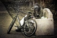 Homeless Man, Balboa Park (Artypixall) Tags: california sandiego balboapark homelessman bench bicycle blackandwhite
