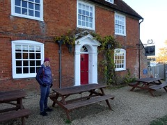 Edita outside the Master Builder's pub, Buckler's Hard (markhorrell) Tags: britain walking hampshire newforest