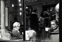 Cafe Culture (Bury Gardener) Tags: streetphotography suffolk street streetcandids snaps strangers candid candids people peoplewatching folks nikond7200 england eastanglia uk burystedmunds bw blackandwhite britain monochrome mono 2019 abbeygatestreet