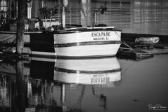 Esca Pade Vancouver, BC  B+W (SonjaPetersonPh♡tography) Tags: delta ladner bc britishcolumbia marina boat fraserriver canoepass riverbank oldboat fishboat fishingboat juandefucastrait water river wesdelmarina harbour nikon nikond5300 reflections waterreflections