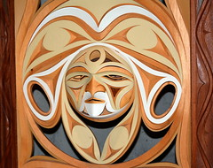 VANCOUVER'S FALSE CREEK AREA, AS SEEN FROM GRANVILLE ISLAND,  BC. (vermillion$baby) Tags: nativeart art carvng color firstnations red relief westcoast wood artsculpture native pacificnorthwest artofnorthamerica artofnativenorthamerica museum carving sculpture woodcarving museums artofthenative nativeamerican indian gallery vivid aborigine