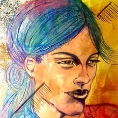 Melancolie (franck.sastre) Tags: visage art colors painting pintor eyes lips streetart