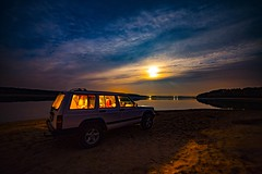* The night at the lake Chańcza * (Lotharn) Tags: night lake chańcza landscape poland jeep cherokee