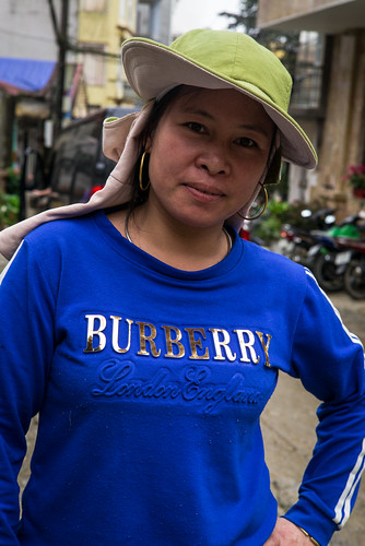 woman in Burberry t-shirt
