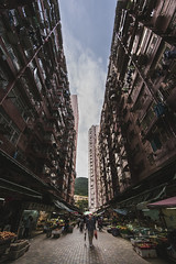 Wai Lee Building (mikemikecat) Tags: ç´è² quarry bay 惠利大廈 wai lee building tong lau 鰂魚涌 old buildings chinese tenement houses hong kong architecture one person moodygrams wide angle
