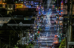 wired over the castro (pbo31) Tags: bayarea california nikon d810 night dark black city feburary 2019 boury pbo31 urban color sanfrancisco over castrodistrict theater neon sign doloresheights power cable wired electric neighborhood street lightstream traffic motion roadway