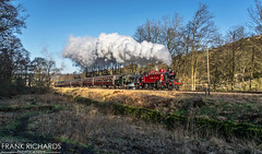 41241 & 78022 | Marsh End nr Oxenhope | 1st Jan '19 (Frank Richards Photography) Tags: ivatt 2 standard worth valley railway marsh end oxenhope top field yorkshire bronte uk england steam january 2019 1st red green woods shadow locomotive nikon d7100 kwvr keighley 1215 mince pie special 78022 41241 class class2