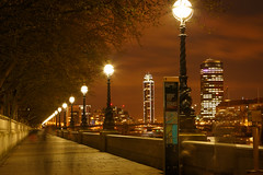 A walk along  South Bank (Vigor11) Tags: london light southbank river thames nightshot longexposure ghosts trees winter buildings cold symmetry lines lamps orange brown red blue movement blur landscape