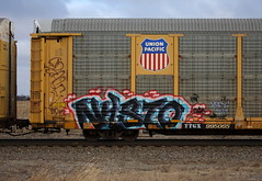 Nysto (quiet-silence) Tags: graffiti graff freight fr8 train railroad railcar art nysto tf autorack up unionpacific ttgx995065