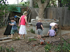 Kids play down the backyard (spelio) Tags: kids backyard garden drought lawn